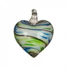 Obesek iz stekla srce Green