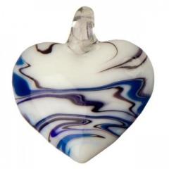 Obesek iz stekla srce - modro
